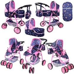 Duży wózek dla lalek 8 funkcji z nosidłem i pościelą/9662